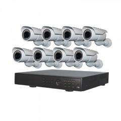 Πλήρες έγχρωμο σετ CCTV εποπτείας και καταγραφής με DVR 8 κάμερες τροφοδοτικό και καλωδιώσεις - 5008HD