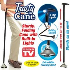Πτυσσόμενο Μπαστούνι με Περιστρεφόμενο Πέλμα, Φακό LED & Ρύθμιση Ύψους - Trusty Cane
