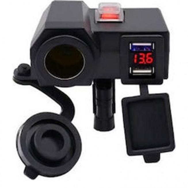 Αδιάβροχος Φορτιστής με 2x USB, Αναπτήρα 12V & Βολτόμετρο Μηχανής - Μοτοσυκλέτας US67 (CD-3028)