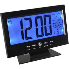 Ρολόι Με Ξυπνητήρι, Αισθητήρα Ήχου, LCD Οθόνη, Θερμοκρασία Voice Control Back-Light LCD Clock