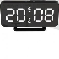 FanJu FJ3216 Ξυπνητήρι καθρέφτη με θερμοκρασία διπλού συναγερμού οπίσθιου φωτισμού ψηφιακό ρολόι με αναβολή