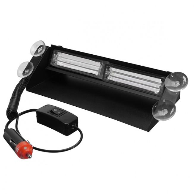 Φώτα Αστυνομίας STROBO για Παρμπρίζ Αυτοκινήτου με Βεντούζες Στήριξης LED 2 x COB LIGHT 8W 10-30V Μπλε GloboStar 34314
