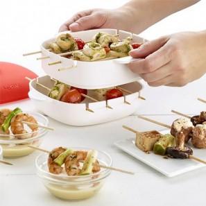 Συσκευή Ψησίματος για Σουβλάκια στο Φούρνο Μικροκυμάτων - Mini Skewers Maker